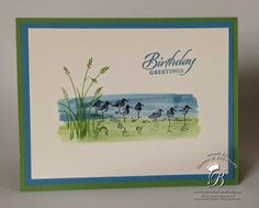 Queen B Creations: Wetlands For this card the middle strips of Wild Wasabi and Marina Mist are painted on with the Aqua Painter. Stampin' Tip: I squeezed the ink pad together while it was shut, then when I opened it a small amount of ink was on the inside lid of the stamp pad. I then used my Aqua Painter to pick up some of the ink and paint onto my card with it.