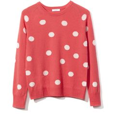 Equipment: Sloan Crew Neck Sweater ($368) ❤ liked on Polyvore featuring tops, sweaters, shirts, jumpers, cayenne, crew-neck sweaters, red polka dot top, crewneck shirt, red jumper and equipment sweaters