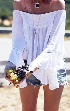 Off Shoulder White Boho Blouse - LOVE THIS PRETTY WHITE TOP!!