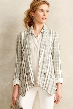 Promenade Checkered Blazer - anthropologie.com Another jacket that can be dressed up for work with a blouse or down on the weekend with a T.