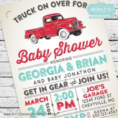 Vintage Truck Baby Shower Invitation
