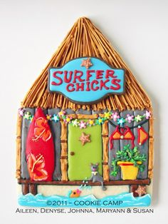 Great new look for my Woody Surf album tiki hut. Summer Cookies, Fancy Cookies, Iced Cookies, Cut Out Cookies, Cute Cookies, Royal Icing Cookies, Cupcake Cookies, Cupcakes, Cake Pops
