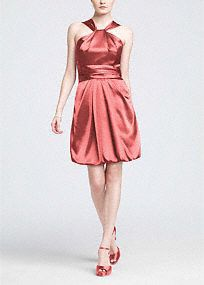 A fashion-forward choice for your bridal party, this Y-neck bubble hem dress is the ultimate in modern sophistication.  Y-neck bodice offers coverage and is elegant and unique.  Ruched waistflatters while the soft bubble hemgives this dress a fresh look.  Sleekcharmeusefabric adds a touch of glamour to any bridal party.  Fully lined. Back zip. Imported polyester. Dry clean only.  Available in our exclusive20 color palette.  Get inspired by our colors.