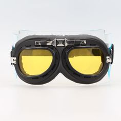 Aviator Pilot Chopper Cruiser Bikes Motorcycle Goggles Eyewear Black Frame Yellow lens
