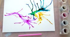 Blow painting with straws is simple yet lots of fun for kids of all ages. Use a straw to blow liquid paint around on paper, creating interesting designs. Art Activities For Toddlers, Painting Activities, Craft Activities, Activity Ideas, Sand Crafts, Rock Crafts, Paper Crafts, Kids Crafts, Painting For Kids