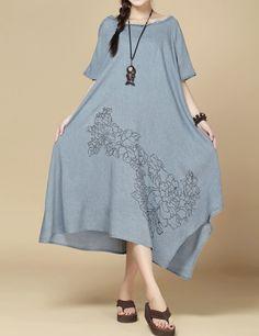 fashion cotton loose fitting long dress cloak Short by MaLieb