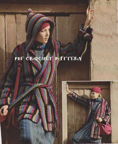 Vintage Hooded Jacket Crochet PDF Pattern by KatnaboxCrochet