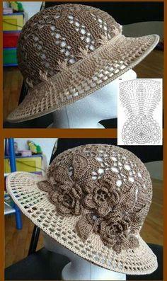 Πλεκτό καπέλο design trends 2018 home - Home Trends Crochet Hat With Brim, Crochet Summer Hats, Crochet Girls, Diy Crafts Knitting, Diy Crafts Crochet, Crochet Shawl, Crochet Lace, Flower Crochet, Filet Crochet