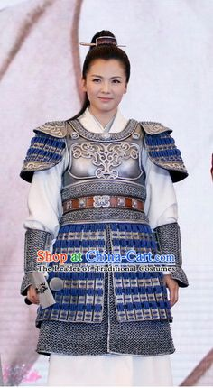 Ancient Chinese Female General Superhero Armor Costumes and Hair Jewelry for Women Female Samurai, Samurai Armor, The Empress Of China, Chinese Armor, Medieval Clothing, Warrior Princess, Chinese Style, Hair Jewelry, Costumes