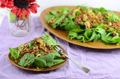 Warm Lentil and Spinach Salad - So easy and delicious!