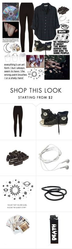 """""""i'm done."""" by lyonserenity ❤ liked on Polyvore featuring Theory, Xirena, Converse, Samsung, Goody and Chronicle Books"""
