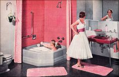 1956 American Standard Bathroom in Pink and Gray-this is cute with her daughter in the tub....