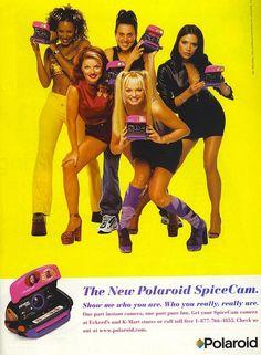 Spice Girls (Melanie b, Melanie C, Emma Bunton, Geri Halliwell, and Victoria Beckham) for Polarioid Spice Girls, Victoria Beckham, Mtv, Melanie C, Bongo Jeans, Baby Spice, Old Advertisements, Advertising, 90s Nostalgia