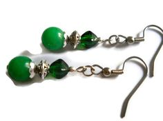 Renaissance Earrings Kelly Green Earrings Emerald by chicagolandia, $14.00