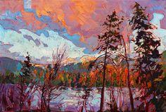 Dramatic landscape painting of Montana near Glacier Park, by Erin Hanson
