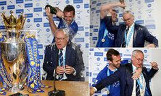 Claudio Ranieri soaked in champagne by Leicester players after fantastic Foxes lifted Premier League trophy   Daily Mail Online