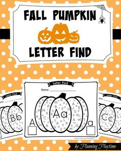 Worksheets have never been so fun. Work on Upper and Lower case letter recognition and Counting in this new Fall Pumpkin Alphabet Letter Find. Fall Preschool, Kindergarten Literacy, Preschool Learning, Preschool Activities, Literacy Centers, Theme Halloween, Fall Halloween, Happy Halloween, Letter Find