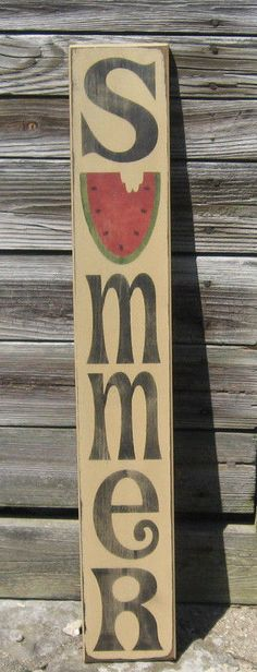 Primitive country vertical summer 36 porch sign is part of Primitive Summer crafts - Pallet Crafts, Wooden Crafts, Primitive Crafts, Country Primitive, Primitive Antiques, Painted Signs, Wooden Signs, Fun Craft, Craft Ideas
