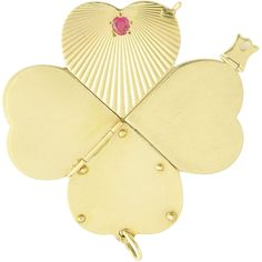 Retro 14k Gold Ruby Articulated Four Leaf Clover Heart Charm..