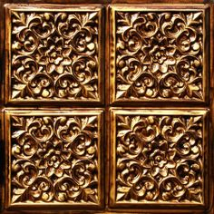 """Faux Ceiling Tile Antique Gold #109 Plastic Can Be Glue on Clean Smooth. Surface, Also Can Glue Over Popcorn 24""""x24"""" Overlapping Edges,discounted Class """"A"""" Fire Rated Decorative. by Ceiling tiles by us,decorative tile,faux antique. $8.99. Office renovation, Night club renovation,remodeling,coffered ceiling,ceiling tiles metal.eco friendly,green,recyclable ext... Antique Ceiling Tiles Installs over any existing clean smooth ceiling surfaces,sheet roock,wainscoat,s..."""