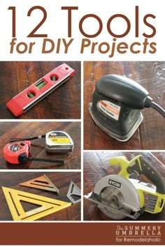 Must-Have Tools for DIY Projects The Top 12 Tools You Need to DIY -- these tools will get you through any project!The Top 12 Tools You Need to DIY -- these tools will get you through any project! Used Woodworking Tools, Beginner Woodworking Projects, Popular Woodworking, Woodworking Crafts, Woodworking Plans, Woodworking Furniture, Woodworking Basics, Woodworking Classes, Woodshop Tools