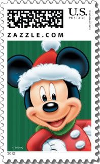 A smiling Mickey Mouse dress in a Santa Claus suit fills this Disney Christmas Stamp.