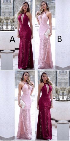 Prom Dresses Simple, Floor-length Halter Sexy Deep V-neck Sleeveless Lace Long Prom Dresses, A long dress makes an elegant statement at any formal event whether it is prom, a formal dance, or wedding. Long Prom Gowns, Formal Gowns, Pink Party Dresses, Prom Dresses, Bridesmaid Dresses, Popular Dresses, Prom Night, Dress Making, Prom Hair