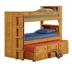 """#3905T Twin Bookcase Bunk Bed w/Twin Trundle Unit (83""""L x 41""""W x 72""""H) Trundle Drawer Sizes: 19Wx12Dx4.50H  Distance from top of bottom rail on bottom bunk to bottom rail of top bunk: 24.25"""""""