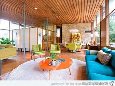 25 bright midcentury modern living room designs home design lover regarding Mid Century Modern Living Room, Mid Century Modern Design, Mid Century Modern Furniture, Living Room Modern, My Living Room, Living Room Designs, Cozy Living, 1960s Living Room, 1970s Furniture