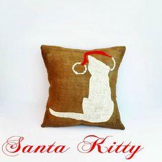 14x14 Santa Kitty Burlap Pillow Cover,Christmas Cat,Cat Pillow,Winter Decor,Christmas Decor, Holiday Pillow, Christmas Gift, Cat Silhouette