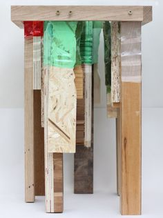 Royal College of Art graduate Micaella Pedros has repurposed discarded plastic bottles into joints that can be used to hold wooden furniture together