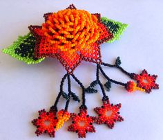 Mexican Huichol Beaded Flower Hair clip by Aramara on Etsy Flower Hair Clips, Flowers In Hair, Beaded Purses, Beaded Jewelry, Seed Bead Art, Native Beadwork, Beading Projects, Bead Crafts, Bead Weaving