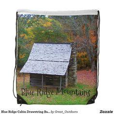 Blue Ridge Cabin Drawstring Backpack