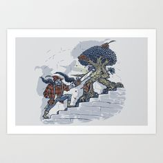 The Never Ending Duel Art Print by Made With Awesome - $15.00