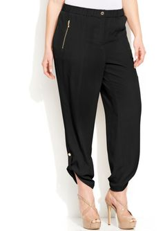 Calvin Klein Black Plus Size Rolltab Pants