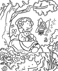 Spring Fairy Coloring Page from Nature Coloring Pages category. Find out more nice coloring pages for your children Garden Coloring Pages, Superhero Coloring Pages, Alphabet Coloring Pages, Flower Coloring Pages, Hello Kitty Colouring Pages, Spring Fairy, Christmas Coloring Pages, Online Coloring, Halloween Coloring