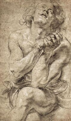 Peter Paul Rubens – Study of Daniel in the lion's den, 1620; 50.5x30.2 cm