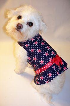 RockinDogs Patriotic Stars Red, White & Blue Dog or Cat Harness Dress