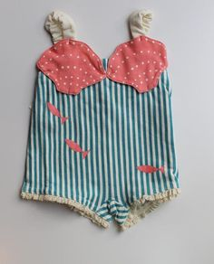 We love this vintage #swimsuit for a child, beautifully crafted and perfect for your own #beachwear inspiration. Make it as a swimsuit or for a summer romper, we just love the #nautical details!