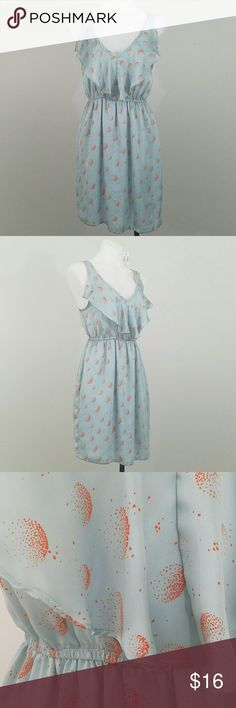 """Audrey 3+1 Sleeveless Dress Cute and satiny feeling sleeveless dress in pale blue with orange circular dot patterns. There is a large loose ruffle on the neck line and it features an elastic gathered waist. 36"""" long from the shoulder seam. Waist is 13"""" unstretched and 17"""" stretched. There is a 3/4"""" spot on the ruffle seam that has pulled from the stitching (shown in pic 5). It is not noticeable unless you are looking closely. Dresses"""