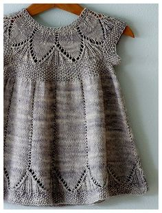 very cute grey knit girl dress. find the lace and leave pattern very nice.