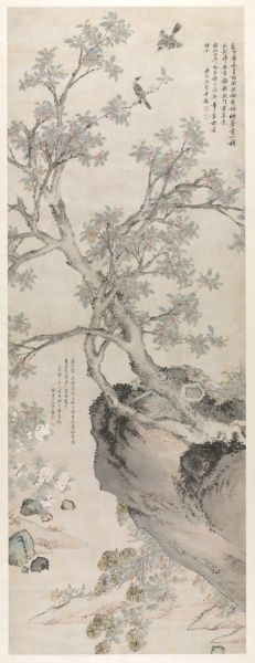 Yellow Chrysanthemums and Red Osmanthus in the Style of Wang Yuan, Ming dynasty Shen Zhou (Chinese, 1427-1509) hanging scroll, ink on paper, Image - h:309.80 w:120.60 cm (h:121 15/16 w:47 7/16 inches). Bequest of Mrs. A. Dean Perry 1997.100