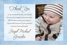 Blessed Baby Photo Thank You Card - Boy Blue Christening Baptism Christening Thank You Cards, Baby Thank You Cards, Photo Thank You Cards, Photo Cards, Baptism Invitation For Boys, Christening Invitations Boy, Free Baby Shower Invitations, Boy Baptism, Baby Christening