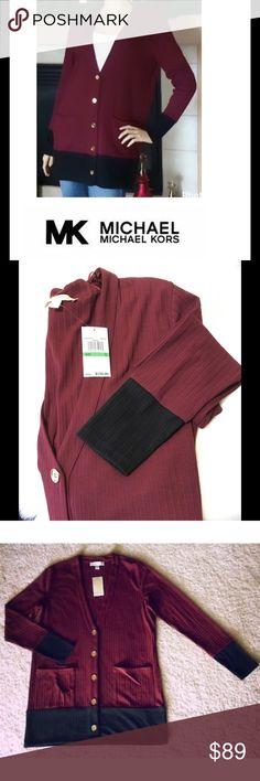 "🆕 Michael Kors Merlot ColorBlock Cardigan Michael Kor's Women's Merlot/Black cardigan sweater. V-Neckline. MK Gold Logo button closure. Ribbed Knit. Polyester/viscose/Elastane. 2-Front pockets. Size: L ( underarm to Underarm 24"", Approx. 32"" length ) Brand new with tags. Michael Kors Sweaters Cardigans"
