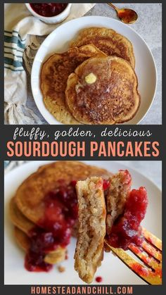 You're going to love these fluffy, golden sourdough pancakes. You can use discarded sourdough starter or active starter in this recipe. Homemade sourdough pancakes are absolutely delicious, and more… More Easy Sourdough Bread Recipe, Sourdough Pancakes, Sourdough Pizza, Bread Recipes, Real Food Recipes, Starter Recipes, Kid Recipes, Healthy Recipes, Drink Recipes