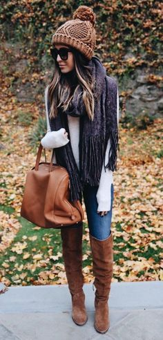 #winter #fashion /  Brown Beanie + Dark Scarf + Camel Leather Tote