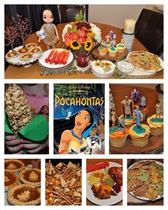 Disney Dinner and a Movie Night - Pocahontas Party. We had homemade baked tortilla chips in fall leaf shapes with dip, a traditional Thanksgiving Day dinner, Native American fry bread, fruit arrows, cranberry juice or Grandmother Willow's water from just around the river bend. Dessert was either a mini pumpkin pie or a Pocahontas character cupcake. Snack during the movie was trail mix (pretzel twigs, candy corn, raisins, sunflower seeds and teepee bugles) or carmel corn shaped into a corn…