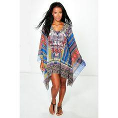 Boohoo Isabelle Aztec Print Tie Kaftan ($35) ❤ liked on Polyvore featuring swimwear, bikinis, royal, high waisted bikini, beach kimono, 2 piece bikini, triangle bikini swimwear and beach wear