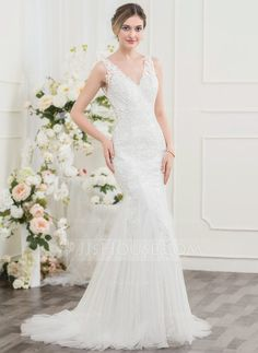 Trumpet/Mermaid V-neck Sweep Train Zipper Up Regular Straps Sleeveless Church General Plus No Winter Spring Summer Fall Ivory Lace Wedding Dress