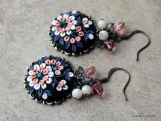 Elegant Polymer Clay Applique Earrings in Pink by charancreations